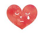 涙を流す赤いハート